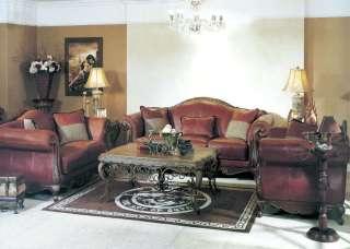 Phyllis 100% Burgundy Leather Sofa LoveSeat & Chair Set