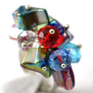 Colorful Faceted Crystal Glass Beads Cooktail Ring Fashion Jewelry