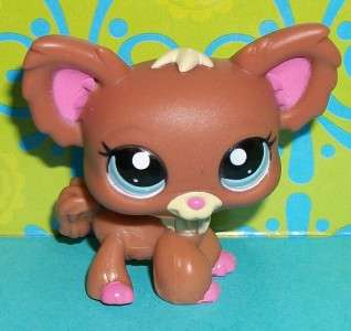 Littlest Pet Shop~#1623 CHOCOLATE & PINK CHIHUAHUA PUPPY DOG~G197 LPS