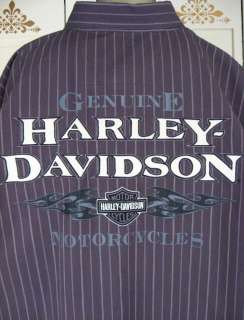 HARLEY DAVIDSON Motorcycles Embroidered LOGO Button Down Striped SHIRT