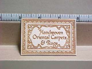 Handwoven Oriental Carpets & Rugs Sign   Dollhouse Mini