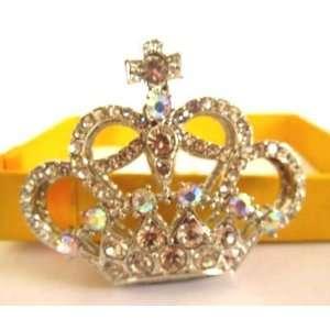 Silver Crown Crystal Key Ring Rhinestone Keychain
