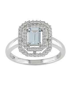 14k Gold Octagon Aquamarine 1/4ct TDW Diamond Ring