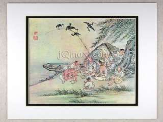 Korean Art Rice Paper Print, Matted #Anglers
