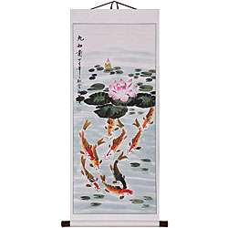 Koi & Lotus Flower Wall Art Scroll Painting