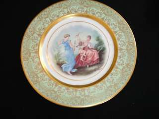 Osborne china din plate ladies w Cupid green gold rim