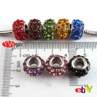 Fashion Rhinestone European Loose Bead Fit Charm Bracelet