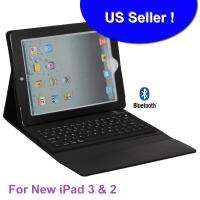 Wireless Bluetooth BLACK Leather Keyboard Cover Case Stand Apple NEW