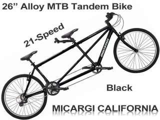 California 2 Seater 21 Speed Tandem Mountain Bike Bicycle Black