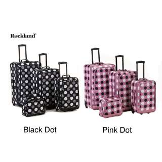 Rockland Deluxe Polka Dot 4 piece Expandable Luggage Set