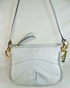 Makowsky Kiev Leather Crossbody Bag Purse White