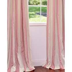 Light Pink/ Cream Stripe Faux Silk Taffeta 84 inch Curtain Panel