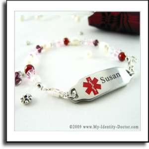 Ladies Medical ID, Pearl, Red, Pink, Beaded Bracelets