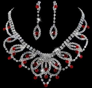 Exquisite Wedding Bridal Necklace Earring Jewelry 1Set Czech