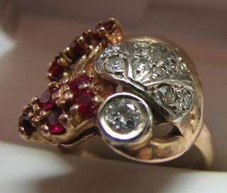 FINE ANTIQUE 14K PINK GOLD RUBY .5ct DIAMOND RING