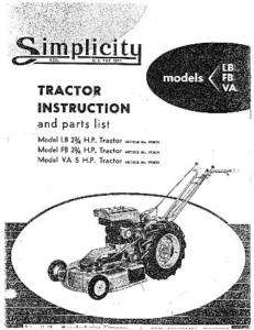 SIMPLICITY LB FB VA GARDEN TRACTOR OWNERS MANUAL PARTS