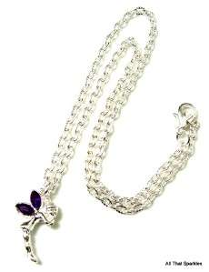 Purple Crystal Tinkerbell Fairy Girls Pendant Necklace