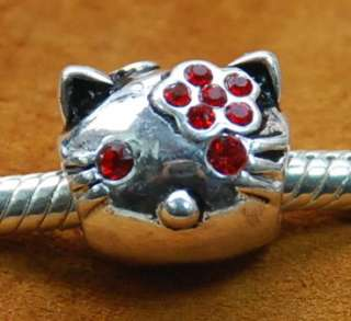 Silver Bead 4 European Bracelet CHARM HELLO KITTY BLUE CZ / RED