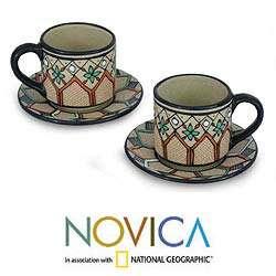 Set of 2 Ceramic Coffee Bouquet Espresso Cups (Mexico)