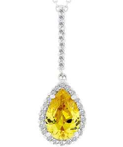 Silvertone Yellow CZ Tear Drop Necklace