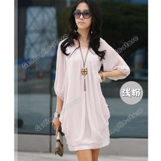 Womens Fashion Graceful Chiffon Casual Short Sleeve Mini Dress M,L,XL