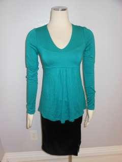 BR BANANA REPUBLIC Stretch Green V neck Orange Pleat neck Top Blouse