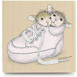 House Mouse Cozy Shoes Wood mounted Rubber Stamp