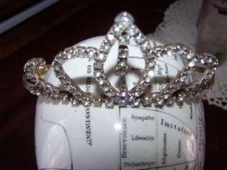 Vintage Clear Dangling Rhinestone Tiara Princess Wedding Head Piece