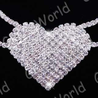 White Heart Austrian Rhinestone Crystal Necklace Earrings Set