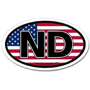 North Dakota ND and US Flag Car Bumper Sticker Decal Oval Automotive