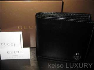 NEW BOX GUCCI Mens Large Black Italian Leather Bi Fold GG Logo Wallet