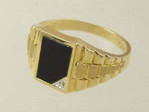 10 KT SOLID YELLOW GOLD MENS BLACK ONYX DIAMOND RIGHT HAND / PINKY