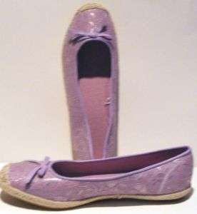 Womens ladies flats loafers shoes 10 M purple fabric