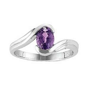 1Ct. 14K. White Gold Oval Amethyst Promise Ring Jewelry