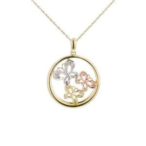10k White, Yellow, and Pink Gold Diamond Butterfly Circle Pendant (.01
