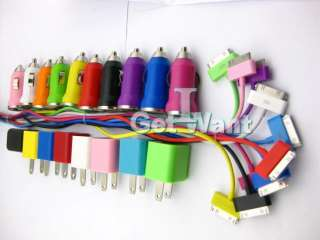Colorful Car Wall Charger USB Cable iPhone 4s 4 3Gs 3G iPod iTouch