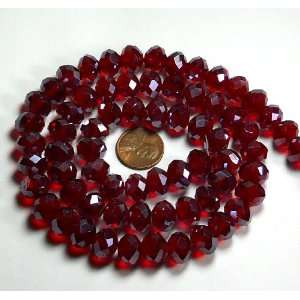 com 12x8mm Ruby Red Luster Crystal Glass Faceted Fluted Cut Rondelle