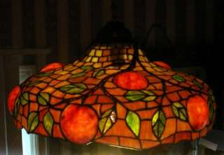 ANTIQUE STAINED LEADED GLASS HANGING LAMP SHADE
