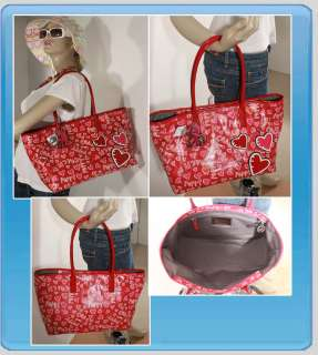 16507 Poppy Coated Canvas Graffiti Tote Bag Silver RED NWT