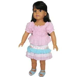 Shirt Set Fits 18 American Girl Dolls, Gingham Skirt & Shirt Set