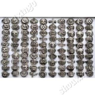30pcs mixed tibet alloy metal vintage retro mens gothic rings