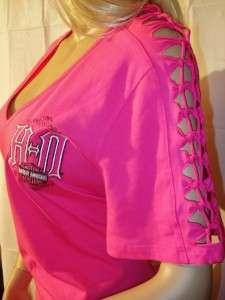 NWT Harley Davidson Pink Deep V Neck Split Shoulders T Shirt Daytona