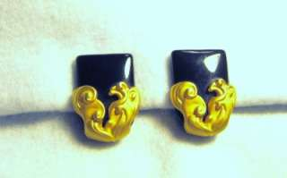 KARL LAGERFELD VINTAGE COUTURE GOLD TONE & BLACK EARR