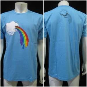 Funny Rainbow Puke Cloud Men T Shirt L Blue New