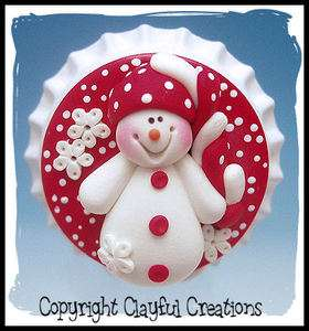 Beckys Polymer Clay   Snowman with Funky Red and White Hat BOTTLE CAP