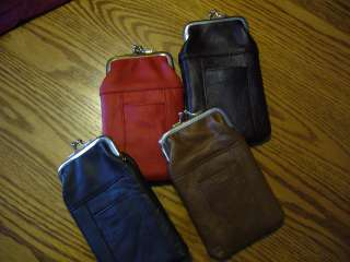 GENUINE LEATHER CIGARETTE CASE W/ TWIST CLASPON TOP & TWO POCKETS FOR