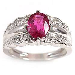 Michael Valitutti 14k Gold Rubellite and 1/10ct TDW Diamond Ring