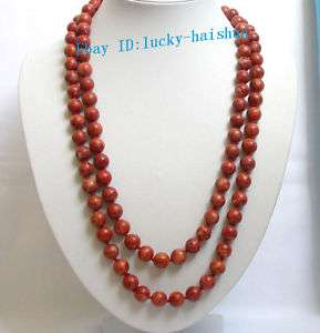 Stunning long 53 12mm red sponge coral necklace