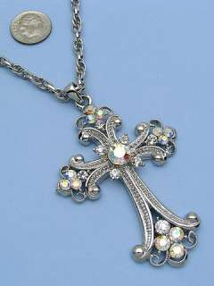 Bling Clear Cross Rhinestone Crystal Necklace Pendant