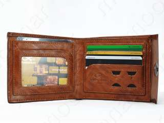 Mens Real Leather Bifold Wallet Multi Pocket Credit Card Purse